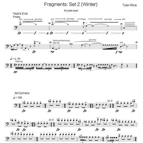 Fragments for solo euphonium: Set II (winter)