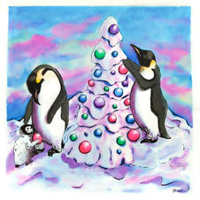 Penguins Decorating a Tree