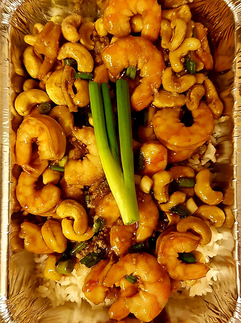 Asian Cashew Shrimps with Rice