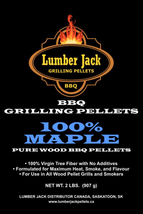 100% Maple Wood BBQ Pellets (20lbs)