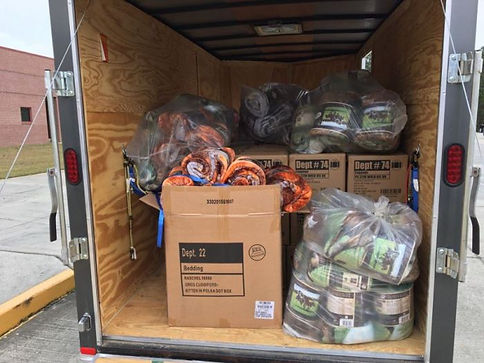 The trailer full of gifts ready to be delivered to Harrison County DHS.