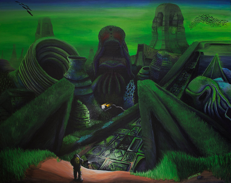 HP Lovecraft-inspired acryic painting that depicts the ancient, sunken city of R'lyeh.