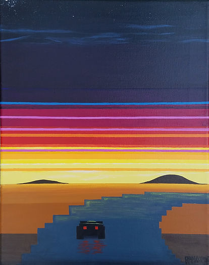 8 bit Atari 2600-inspired acrylic painting inspired by gameslike Outrun, Turbo and Night Driver