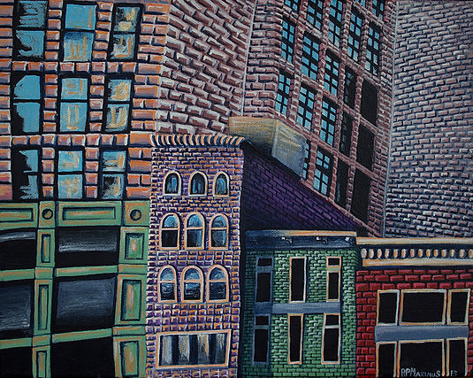 cityscape,New York, acrylic painter, Boston artist