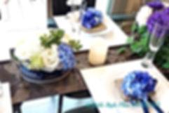 ロイヤルブルーのママ会コーディネートテーブルウェア, テーブルコーディネート