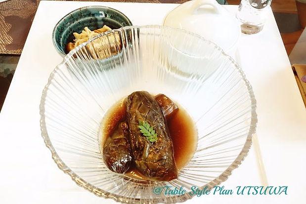 ナスのあげびたし, カニの茶碗蒸し, きのこの和風マリネテーブルウェア, テーブルコーディネート