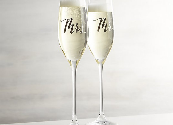 【お取り寄せ品】Crate&Barrel / Mr. and Mrs. Champagne Flutes