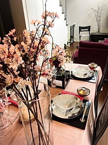 桜テーブルコーディネート, 桜テーブル, お花見テーブルコーディネート
