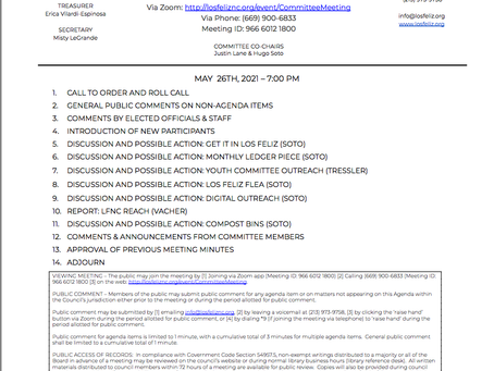 Outreach Committee Meeting Wednesday May 26