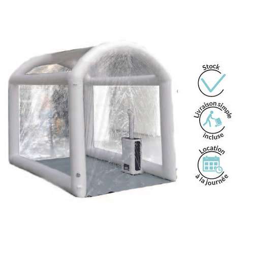 Inflatable tunnel with dry mist technology