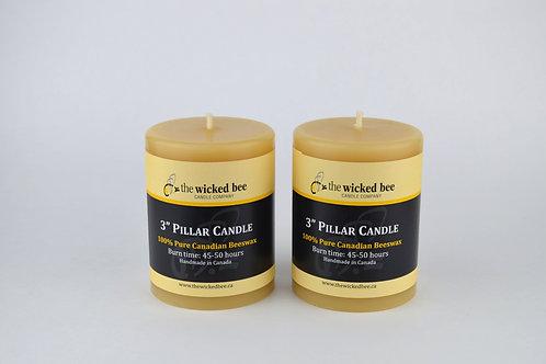 "100% Pure Beeswax Pillar Duo (3"" x 4"")"