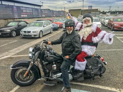 Santa on a Harley Davidson