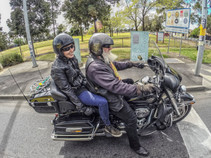 Riding a Harley Davidson