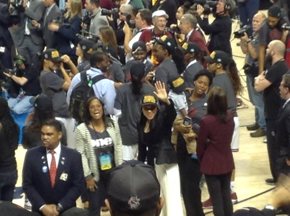 Dawn Staley Waves To Fans