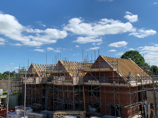 The Harriette's Roof Trusses are Up!