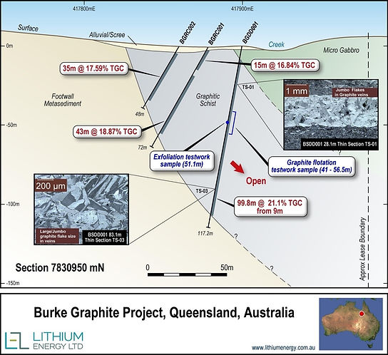 Burke Tenement Drilling cross Section 7830950mN