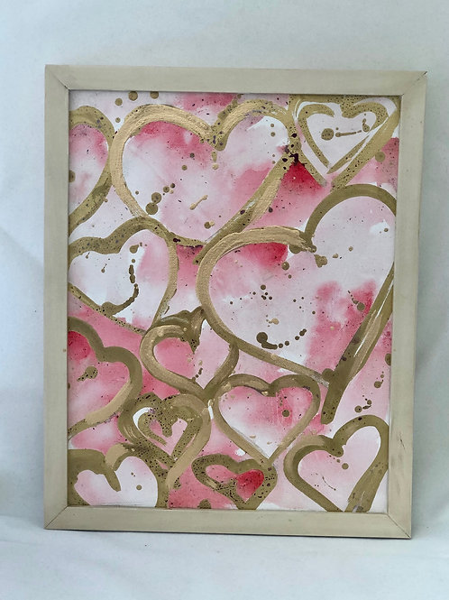 gold hearts framed - original