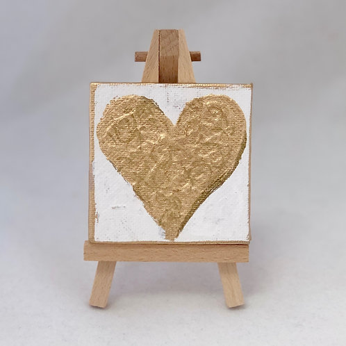 gold and white mini heart canvas