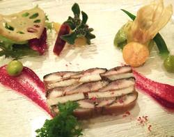 北海道産の秋刀魚と里芋のテリーヌ 秋の装い