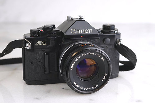Canon A1 w/ 50 1.8 lens and FILM