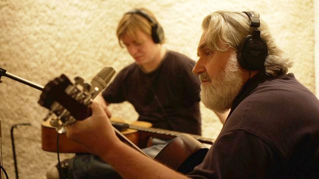 "Chris Price & Emitt Rhodes (R.I.P.) in studio recording ""How Can You Mend A Broken Heart."""