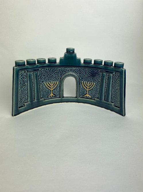 Blue Ceramic Menorah with Classic Columns