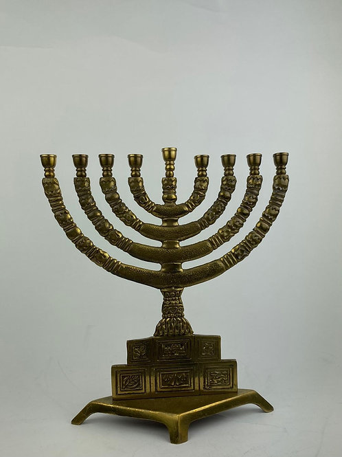 Brass Menorah with Stepped based Depicting The 12 Tribes of Israel 1970