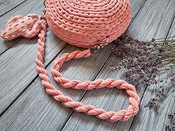 Handmade crochet pink bag with long hand