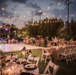Wedding Ceremony with flowers outside in