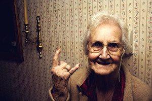 devil horn old lady