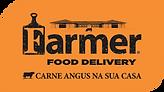 Logo Farmer com slogan fundo laranja.png
