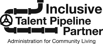 Inclusive Talent Pipeline Partner, Administration for Community Living logo with pipe image.