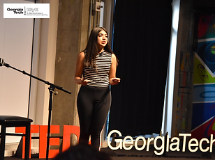Mentra founder Jhillika Kumar delivers TED talk at Georgia Tech.