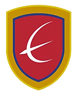 Eaton Academy logo, a white bird on a red crest with a gold outer border.