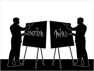 "Men paint words ""emotion"" and ""mind"" on canvas."