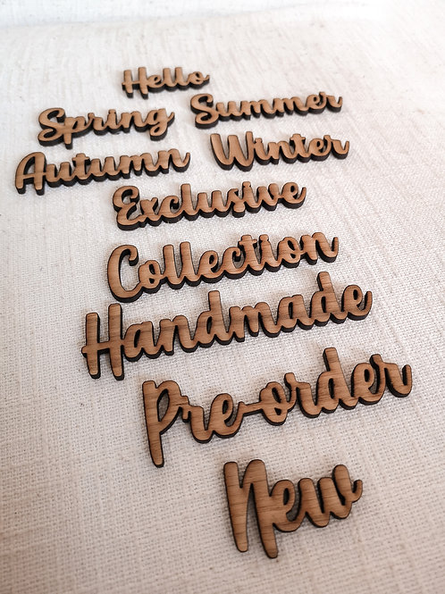 Personalised Small Wooden Words Set of 10 or 5, Oak Flatlay Photography Props