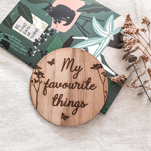 My Favourite Things Disc LARGER Oak Wooden Photography Props