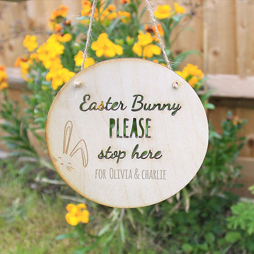 Personalised Easter Bunny Please Stop Here Wooden Easter Sign Plaque