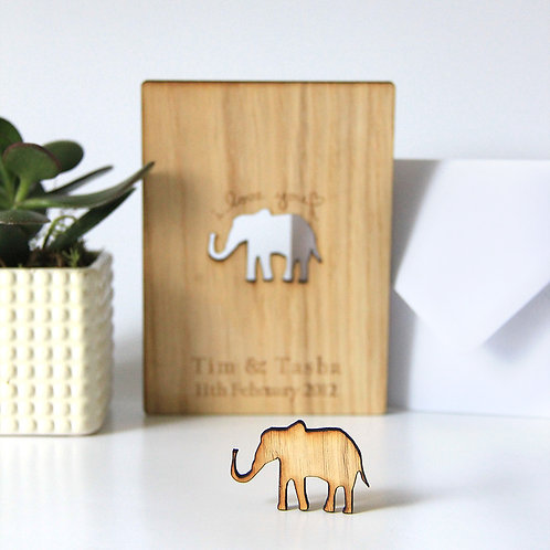Personalised 5th Wooden Anniversary Card with Elephant Cut Out