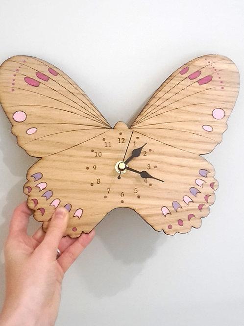 Butterfly Wall Clock, Girls Clocks, Laser Cut Wooden Clock