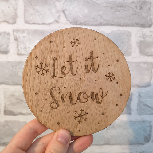 Let it Snow Disc Oak Wooden Photography Props 2 sizes
