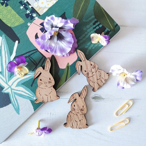 Oak Easter Bunnies, Photography Props Flatlay, Wooden Decoration