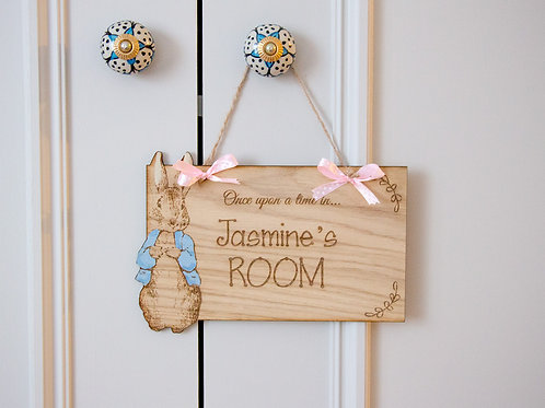 Personalised Peter Rabbit Wall Signs Gemina Puddle Duck or Peter Rabbit