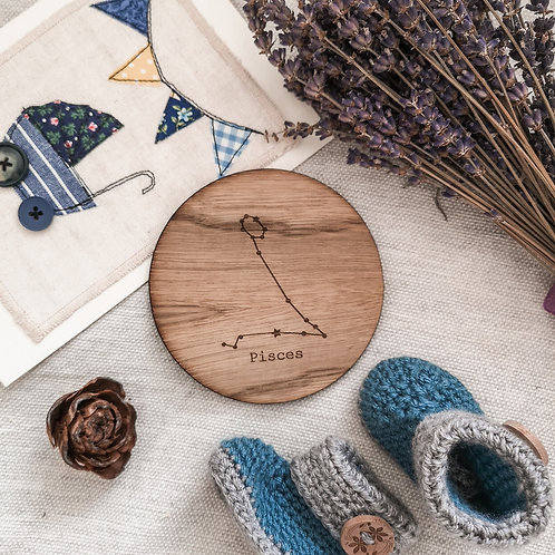 Constellation Star Signs Astrology Wooden Flatlay Discs 12 Zodiac Discs