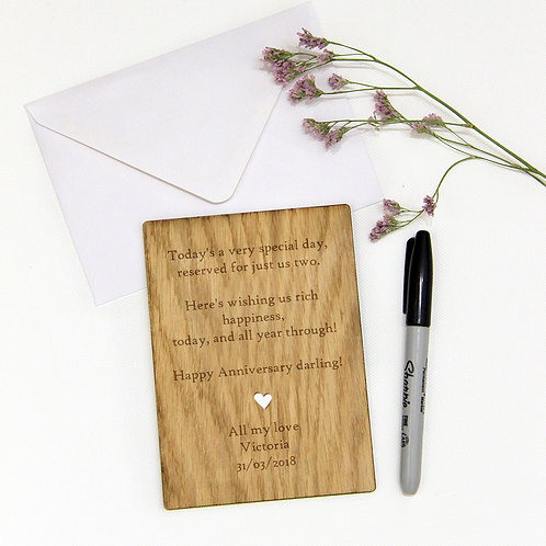 5th Wooden Anniversary / Wedding Card, Lots of Text with Heart