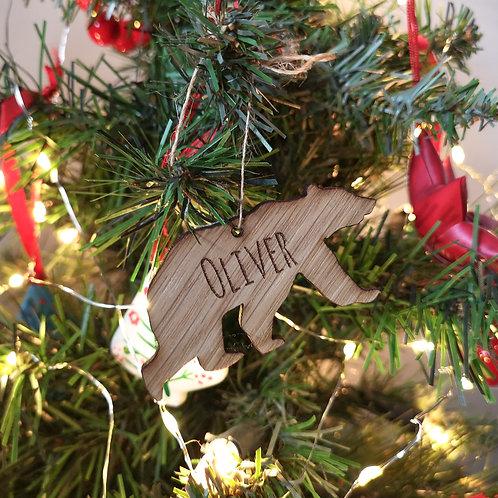 Personalised Christmas Bear Tree Decoration