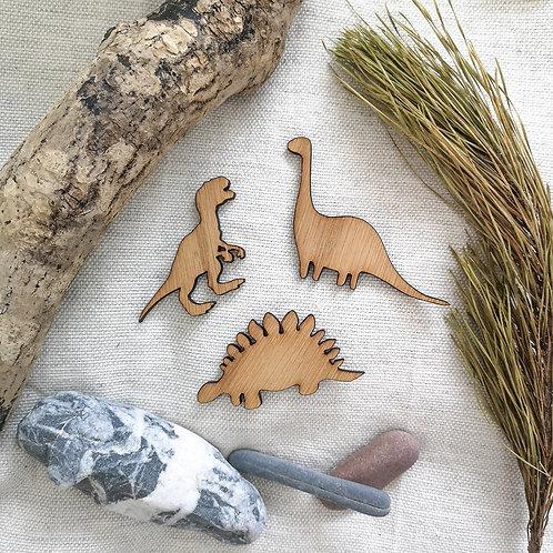 Oak Dinosaurs, T-Rex, Brontosaurus, Stegosaurus Wooden Photography Props Flatlay