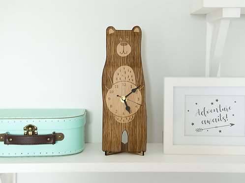 Bear Nursery Clock, Wooden Laser Cut Clock