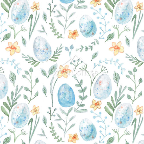 Colour Exclusive Seamless Pattern with Bird's Eggs - White 2 Patterns