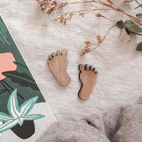 Oak Baby Feet Photography Props Flatlay, Wooden Decoration